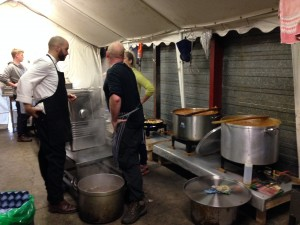Makeshift kitchen run by chefs from London. With four other kitchens they try to feed all residents at least one hot meal a day.